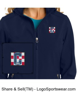 Ladies Soft Shell Navy Jacket Class of 94 Logo Design Zoom